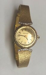 Ladies Estate Classic Movado 14k Solid Gold And Bracelet 14 Diamonds Watch Working