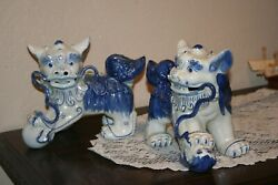Antique Chinese Pair Of Large Blue And White Foo Dog Figurines