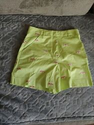 Lilly Pulitzer Women's 2 Green With Pink Golf Carts Shorts Used