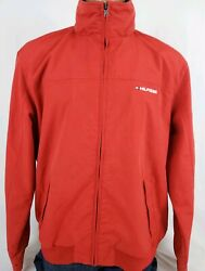 Menand039s Red Spellout Tuck Away Hood Full Zipper Jacket Size Xl