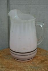 Vintage Frosted Pink Glass Pitcher Striped Grey And Black With Ice Lip