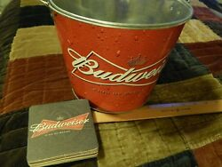 Budweiser King Of Beers [lot] Metal Ice Bucket W/ Coasters Anheuser-busch Ltd
