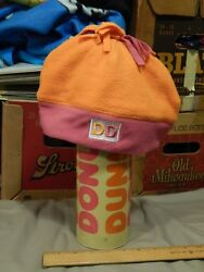 Dunkinand039 Donuts [lot Of 2] America Runs On Dunkinand039 Beanie Hat Cap + Vtg Thermos