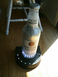 Large Anheuser Busch Inc Bacardi Silver Display Bottle With Led Lights