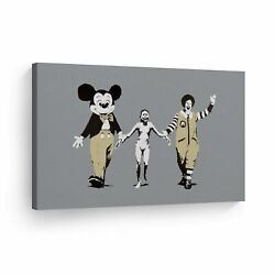 Banksy Art Napalm Girl With Mickey Mouse And Mcdonalds Wall Art Canvas Prints