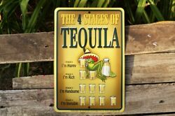 The 4 Stages Of Tequila Tin Metal Sign - Party - Jose Cuervo, Don Julio, Worm