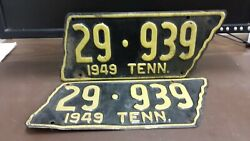 Pair Nice 1949  Tennessee Map Shape License Plate Tag