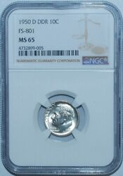 1950 D Ngc Ms65 Fs-801 Ddr Double Doubled Die Reverse Roosevelt Dime