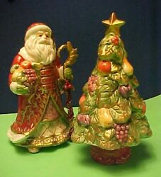 Santa Claus Christmas Tree Fitz And Floyd Renaissance Salt And Pepper Shakers