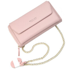 Soft PU Leather Wristlet Clutch Crossbody Bag with Chain Strap Cell Phone Purse $15.99