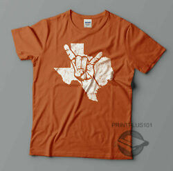 Texas Longhorns Hook 'Em Horns Sign Distressed T Shirt Design Adult SM-3XL