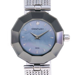 Century Time Gem Diamond Silver Ladies Blue Shell Dial Qz Ss From Japan [a0803]