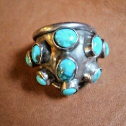Vtg Navajo Turquoise Silver Ring Sz 8.25 11g Silver Cluster Dome Southwestern