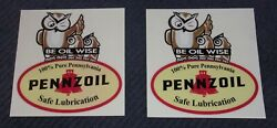Set Of 2-5 Inch Be Oil Wise Owl Pennzoil Oil, Gas, Decal/stickers