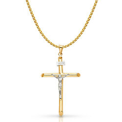 14k Two Tone Gold Crucifix Cross Pendant And 1.7mm Flat Open Wheat Chain Necklace