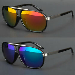 Pilot Sunglasses Vintage Mirror Lens New Men Women Fashion Frame Retro Black $9.78