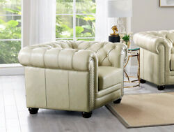 New Chesterfield Lounge Or Easy Chair Top Grain Creamy Ivory Leather Rh Style