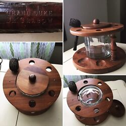 Vintage Wood Pipe Rack Holder Stand Glass Humidor And Grand Duke Dr. Grabow Pipe
