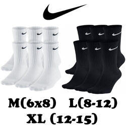 Nike Everyday Dri-Fit Technology Cotton Cushioned Crew Socks 1 3or 6 Pairs ML