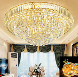 Class A LED K9 Crystal Gold Round Hotel Chandelier Hall Ceiling Light 3 Colours