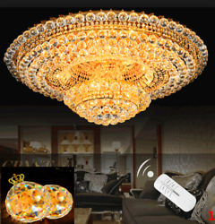 2 Layer LED K9 Crystal Gold Art Hotel Chandelier Hall Ceiling Light 3 Colours