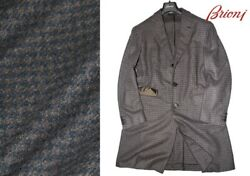 Brioni Houndstooth Checkered Coat  Brown x Blue Gray Size 52 From Italy Rare