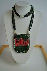 Xl Antique Tribal Glass Seeds Beadwork Ethnic Face Multi Strands Mayan Necklace