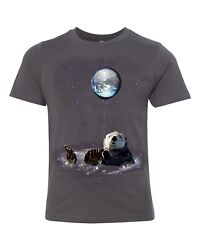 Funny Kids T-shirt Space Otter Bathing Earth Universe Youth Shirt Unisex Tee