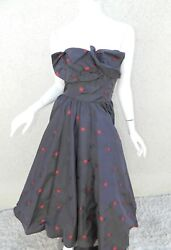 Rare Ceil Chapman Dress Gown Blue Red Cherries Vintage 50's Pinup Strapless