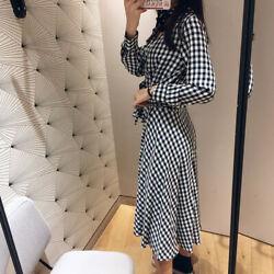 Women V-neck Joker Elegant Knee Length Tie Waist Stripped Plaid Shirt Dress