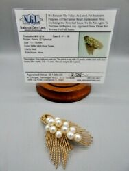 Vintage 14KT Yellow Gold Pearl Cluster Brooch Pin 23 Grams APPRAISAL