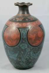 Lg Ceramic Vase Handmade Mexican Fine Folk Art Home Decor Collectible 2nd Place
