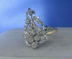 Edwardian Vintage Platinum And 14k Gold And Mine Cut Diamond Ring Certified X