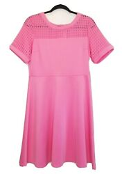 NY Collection Women's Dress Fit & Flare Waffle Short Sleeve Pink Size M $60 D294