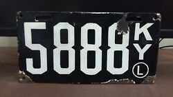 1911 Kentucky Porcelain And039l Second Issue License Plate Tag