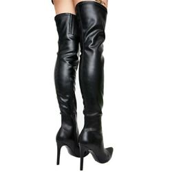 Womenand039s Fashion Suede Elastic Zipper Long Boots Slim High Heel Shoes Plus Size