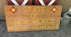 Vintage Dmv Wood Advertising Sign 2 Sided State Of New Mexico Painted 47x25