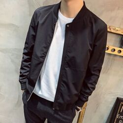 Menand039s Baseball Jacket Casual Stand Collar Zipper Bomber Outwear Slim Fit Autumn