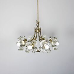 Mazzega Ceiling Light Made of Murano Glas in flower Shape and Brass Parts 1.124Z