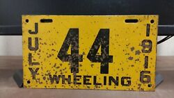 1916 Wheeling West Virginia CITY  License Plate Tag