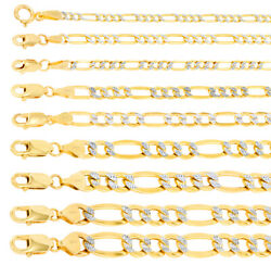 Solid 14k Yellow Gold 2mm-12mm Diamond Cut Pave Figaro Chain Necklace 16- 30