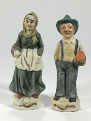 Vintage Figurines. Elderly Couple With Baskets Of Fruit. 6quot; Tall Set.