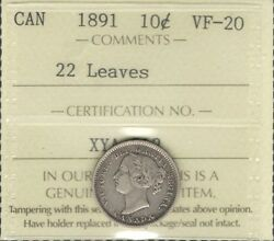 1891 22 Leaves Ten Cents Iccs Vf-20 Beauty Scarce Date Low Mintage Victoria Dime