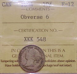 1894 Ten Cents Iccs F-12 Nice Scarce Date Low Mintage Key Victoria Canada Dime