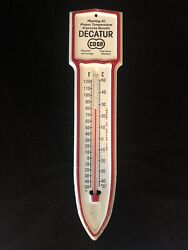 Vtg Decatur Co-op Farming Grain Seed Feed Metal Advertising Thermometer Kansas