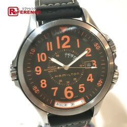 Hamilton Khaki H776950 Air Race Gmt Rubber Automatic Menand039s Watch Used [b0820]