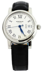 New Star Silver Dial Leather Band Automatic Menand039s Watch 107114
