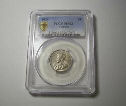 1924 Canada 5 cent Nickel MS62 by PCGS coin UNC Rare Canadian