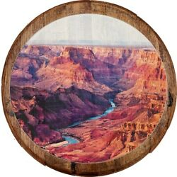 Whiskey Barrel Head Grand Canyon River Valley Red Rocks Scenic Décor Wall Art