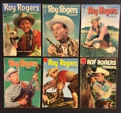 Roy Rogers Comic Books 42 44 57 59 82 104 Golden Age Dell 10 Cent Western Hero